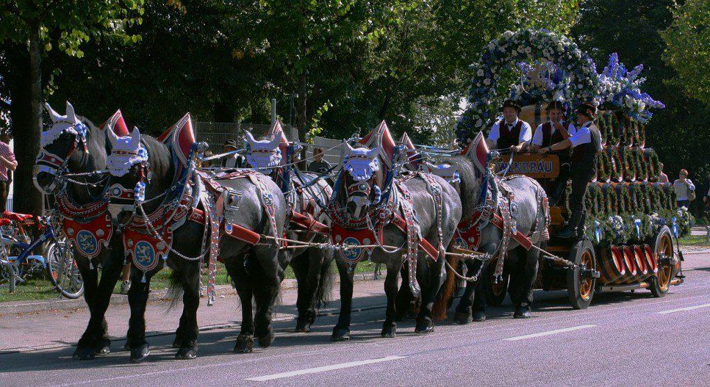 parade float drawn by horses